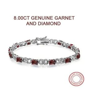 "New 8.00ctw Genuine Garnet & Diamond Bracelet 7.5"""